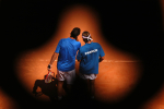 1/2 fianle de Coupe Davis ?Ü Alicante entre l'Espagne et la France, du 24 au 26 septembre 2004. Arnaud Clement et Mikael Llodra(france) perdent le double face aux Espagnoles. PHOTO: Corinne Dubreuil