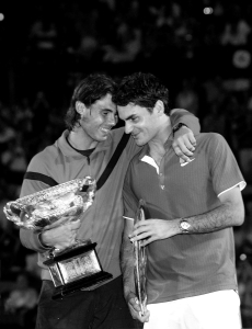 Roger Federer and Rafael Nadal hug at Australian Open 2009.Photo: Ella Ling.