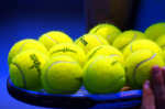 Tennis balls balanced on strings at the Medibank International 2010 Sydney, Australia.Photo: Ella Ling..