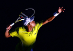 Jo-Wilfried Tsonga of France in action at the Australian Open, 2010, Melbourne, Australia.Photo: Ella Ling..
