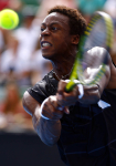Gael Monfils of France in action at the Australian Open, 2010, Melbourne, Australia.Photo: Ella Ling..