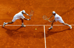 Jamie Murray of Great Britain and Max Mirnyi of Belarus in action on the clay at Monte Carlo, 2008.Photo: Ella Ling.