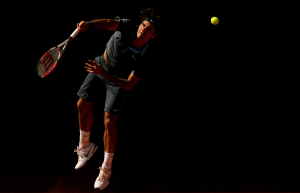 Roger Federer of Switzerland in action during the Final of the Mutua Madrilena Madrid Masters Series.Photo: Ella Ling.