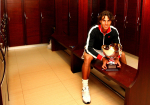 Rafael Nadal of Spain sits with the trophy in the locker room at the ATP Monte-Carlo Rolex Masters, Monaco, 2010.Photo: Ella Ling..