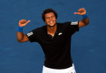 Jo-Wilfried Tsonga of France celebrates beating Roger Federer of Switzerland at the ATP Rogers Cup, Montreal.Photo: Ella Ling