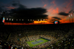 Sunset on Arthur Ashe court, US Open, Flushing Meadows, 2009.Photo: Ella Ling
