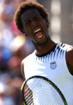 Gael Monfils of France yells in celebration at the US Open 2010.Photo: Ella Ling..