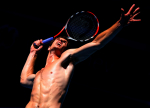 A shirtless Andy Murray of Great Britain in action during a practice session at the Australian Open, 2010.Photo:Ella Ling