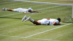 Wimbledon, 2/07/2011..Novak DJOKOVIC (SRB) defeats Jo-Wilfried TSONGA (FRA) 7-6(7/4) 6-2 6-7(9/11) 6-3 and becomes the World N.1 ranked player...Photo Ray Giubilo.....Wimbledon, 2/07/2011..Novak DJOKOVIC (SRB) defeats Jo-Wilfried TSONGA (FRA) 7-6(7/4) 6-2 6-7(9/11) 6-3 and becomes the World N.1 ranked player...Photo Ray Giubilo.....