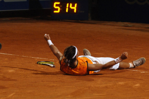 ROMA MASTER SERIES 2005.Sunday 8th may 2005.rafael Nadal throws himself to the ground after winning a 5 set final against Guillermo Coria in 5 hours and 14 minutes...PHOTO RAY GIUBILO *** Local Caption *** Telecom Master Series Roma 2005..Rafa NADAL wins the final against Guillermo Coria in 5 hours and 14 minutes...Photo Ray Giubilo