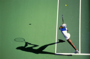 AUSTRALIAN OPEN 1998..Venus Williams and her shadow in action on Rod Laver Arena...Photo RAY GIUBILO