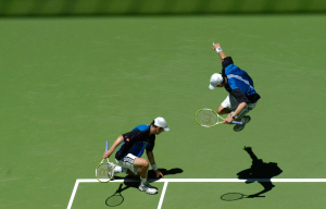 AUSTRALIAN OPEN 2005..23 JANUARY 2005.Twin brothers Bob and Mike BRYAN(Usa) in action during the 3rd round match won against ELRICH and RAM(ISR).Mike Bryan is right handed and Bob Bryan is left handed....Photo RAY GIUBILO