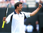 WIMBLEDON 2001..GORAN IVANISEVIC(Cro): Jubilation after a victory in the quarterfinals...Photo Ray GIUBILO
