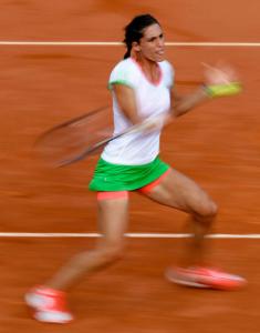 French Open 2011, Roland Garros,Paris,ITF Grand Slam Tennis Tournament . Andrea Petkovic (GER),Einzelbild,Aktion,Wischeffekt,Mitzieher,Zoom,