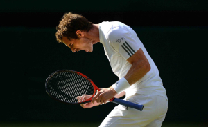 01/7/2013 WIMBLEDON LAWN TENNIS CHAMPIONSHIPS DAY 7 MONDAY ANDY MURRAY CELEBRATES WINNING 2ND SET TIE BREAKER v MIKAIL YOUZHNY PICTURE DAVE SHOPLAND