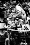 WIMBLEDON 28/06/1987.BORIS BECKER (GERMANY) LEAPS NET.PHOTO ROGER PARKER FOTOSPORTS INTERNATIONAL