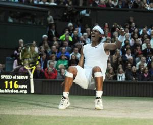 The Championships, Wimbledon Day 13 06/07/2008.Rafael Nadal (ESP) celebrates as he wins Mens final in five sets.Photo Roger Parker Fotosports International.