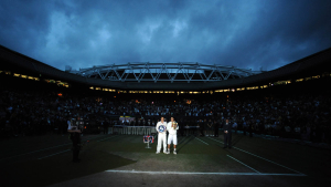 The Championships, Wimbledon Day 13 06/07/2008.Rafael Nadal (ESP) with Roger Federer and Trophy after he wins Mens final in five sets.Photo Roger Parker Fotosports International.
