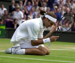 WIMBLEDON CHAMPIONSHIPS 2001 02/07/01 TEARFUL ROGER FEDERER (SWITZERLAND) CELEBRATES WIN OVER PETE SAMPRAS (USA) PHOTO ROGER PARKER