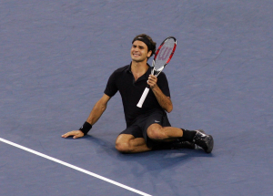 US Open Flushing Meadows New York 09/09/2007.Roger Federer (SUI) celebrates as he wins his 4th consecutive US Open final .Photo Roger Parker Fotosports International.