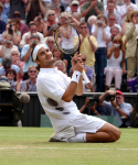WIMBLEDON CMAMPIONSHIPS 06/07/03.ROGER FEDERER (SUI) SINKS TO HIS KNEES AND CELEBRATES HIS FIRST GRAND SLAM VICTORY IN MENS FINAL .PHOTO ROGER PARKER FOTOSPORTS INTERNATIONALWIMBLEDON CMAMPIONSHIPS 06/07/03.ROGER FEDERER (SUI) SINKS TO HIS KNEES AND CELEBRATES HIS FIRST GRAND SLAM VICTORY IN MENS FINAL .PHOTO ROGER PARKER FOTOSPORTS INTERNATIONAL