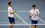 9/7/2010 DAVIS CUP TENNIS GLASGOW SCOTLAND GREAT BRITAIN V LUXEMBOURG ANDY MURRAY AND JAMIE MURRAY BEAT LAURENT BRAM AND MIKE VERMEER IN STRAIGHT SETS IN DOUBLES RUBBER PICTURE BY DAVE SHOPLAND .